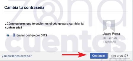 Enviar notificación al teléfono para cuenta de Facebook