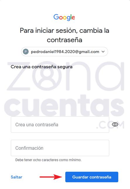 Guardar contraseña de cuenta Gmail