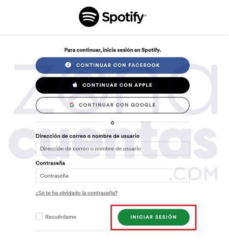 Ingresar datos e iniciar sesión en Spotify