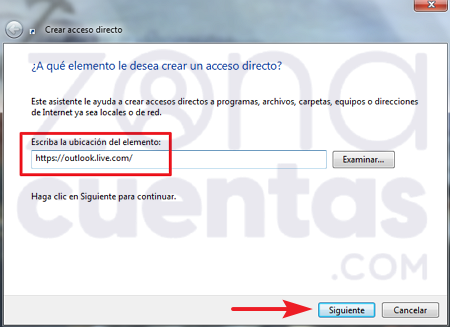 Insertar página de Hotmail en Acceso directo