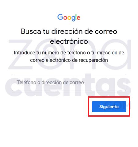Introducir datos para recuperar cuenta de Gmail
