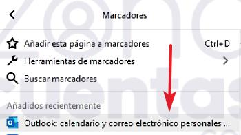 Marcador de Hotmail en Firefox