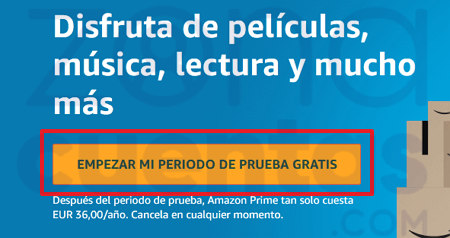 Período de prueba gratis de Amazon Prime