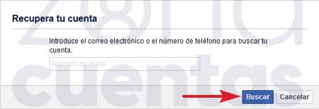 Recuperar cuenta de Facebook por el teléfono