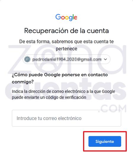 Recuperar cuenta de Gmail con otro correo