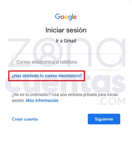 Recuperar usuario de cuenta Gmail