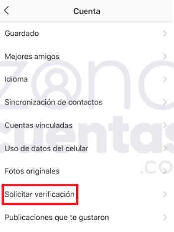 Solicitar verificación de cuenta de Instagram