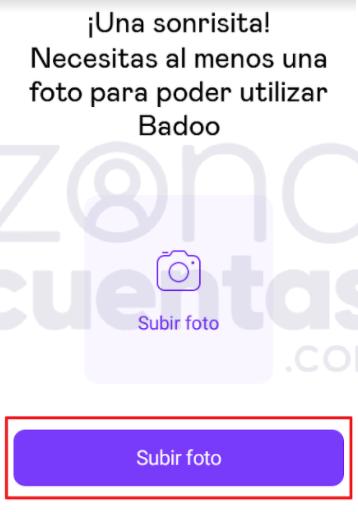 Subir foto a Badoo app