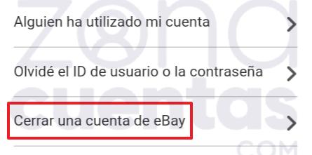 Tutorial para borrar una cuenta de eBay