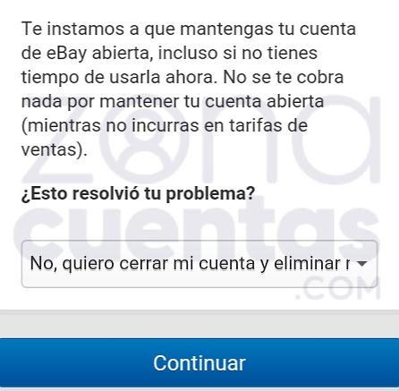 Formulario para borrar una cuenta en eBay