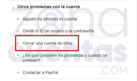 Borrar tu cuenta en eBay