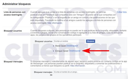 Desbloquear un usuario en Facebook