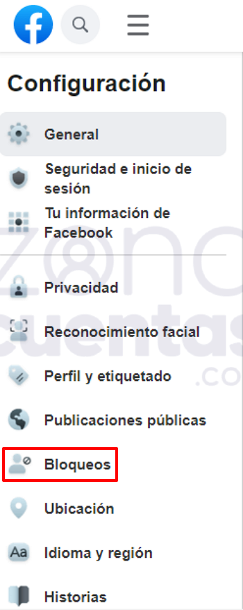 Desbloqueo de un usuario en Facebook