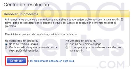 Resolver problemas y reclamos en eBay