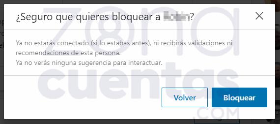 Confirmar bloqueo de usuario en LinkedIn