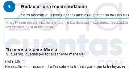 Escribir recomendación en LinkedIn paso 2