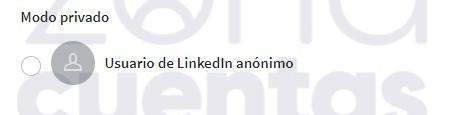 Modo privado en LinkedIn