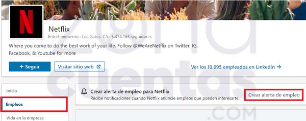 Activar alerta de empleo en LinkedIn
